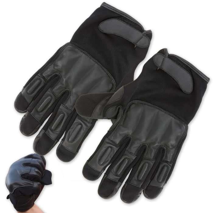 Law Enforcement Self Defense Leather Sap Gloves