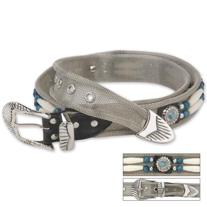 Indian Beaded Link Silver Mesh Belt