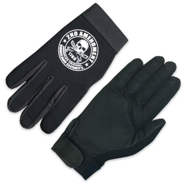 Second Amendment Skull Mechanic Gloves