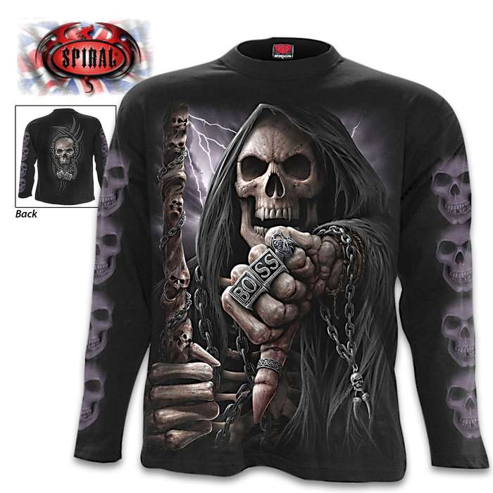 Boss Reaper Black Long-Sleeve T-Shirt - Original Artwork, Front And Back, Jersey Material, Skin Friendly Dyes