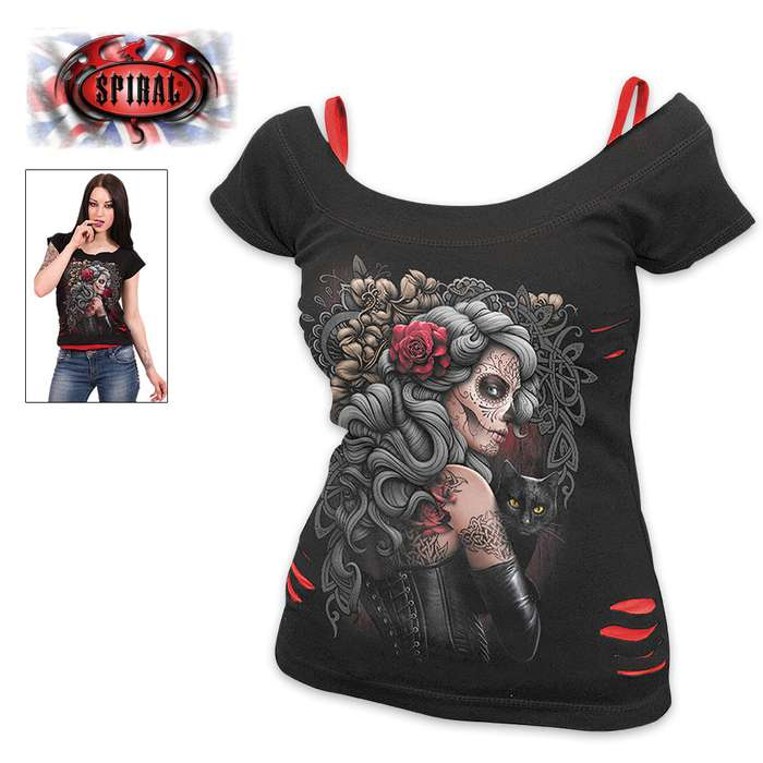 Day Of The Dead Tattoo 2-In-1 Black Ripped Top - Red Accents