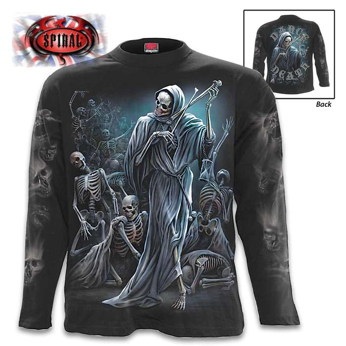 Dance Of Death Black Long-Sleeve T-Shirt - Original Artwork, Front And Back, Jersey Material, Skin Friendly Dyes