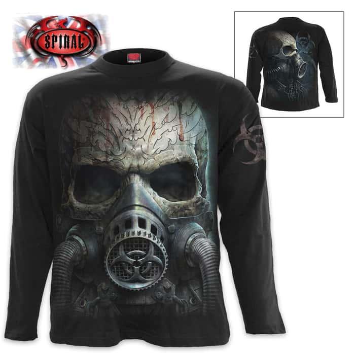 Black Bio-Skull T-Shirt - Long-Sleeve