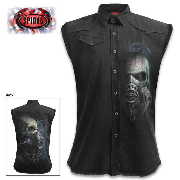 Bio-Skull Sleeveless Black Stonewashed Worker Shirt - 100 Percent Cotton Denim, Original Artwork, Azo-Free Reactive Dyes