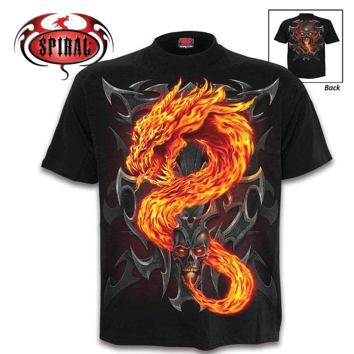 A stop-and-stare, dragon-themed black t-shirt that you will want to wear all the time once you add it to your wardrobe