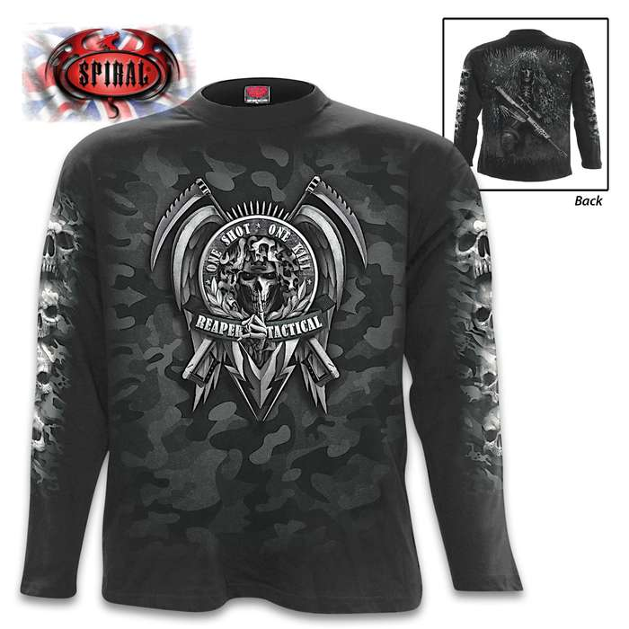 Tactical Reaper Black Long-Sleeve T-Shirt - Original Artwork, Front And Back, Jersey Material, Skin Friendly Dyes