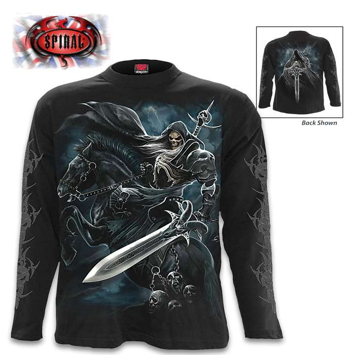 Grim Rider Long Sleeve Black T-Shirt - Original Artwork, Front And Back, Jersey Material, Skin Friendly Dyes