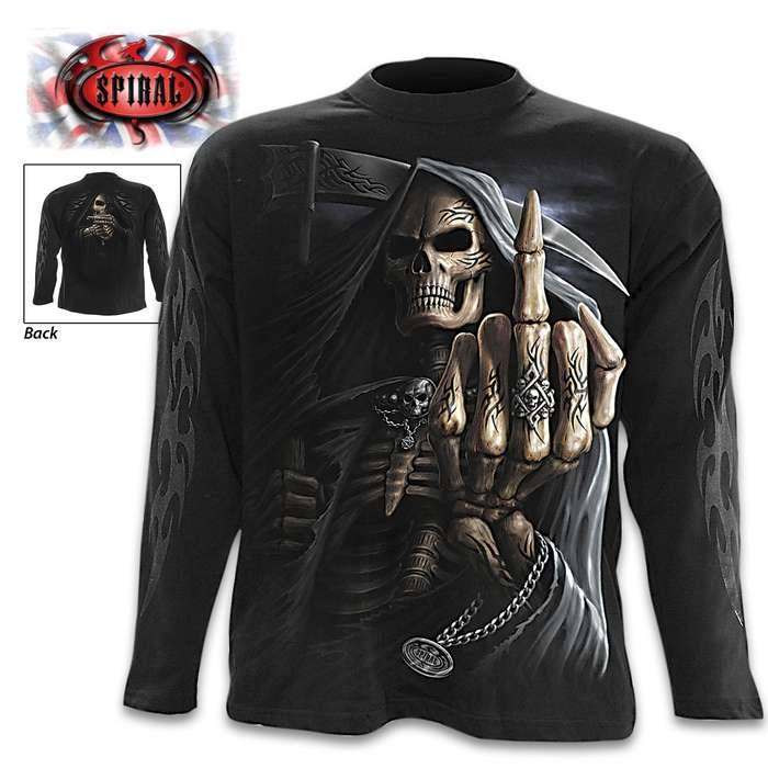Bone Finger Black Long-Sleeve T-Shirt - Original Artwork, Front And Back, Jersey Material, Skin Friendly Dyes