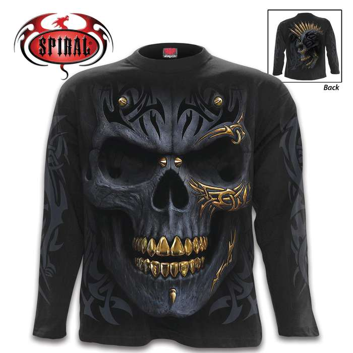 The t-shirt features original leering gold and black demon skull artwork printed on both the front and the back of the shirt