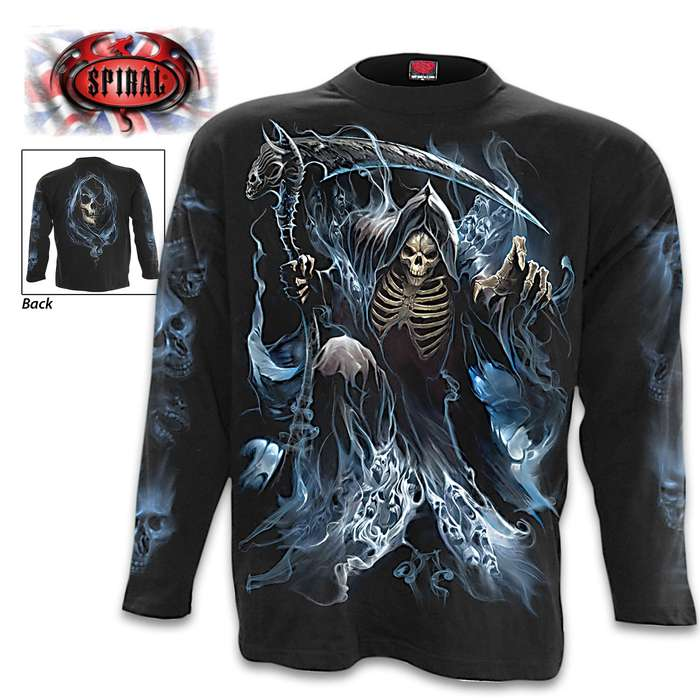 Ghost Reaper Black Long- Sleeve T-Shirt - Original Artwork, Front And Back, Jersey Material, Skin Friendly Dyes