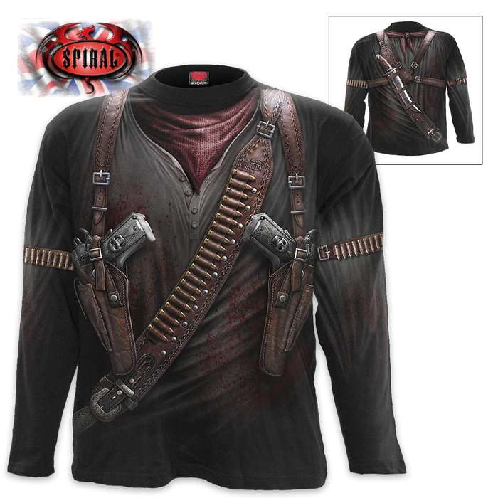 Black Holster Wrap - Allover Long-Sleeve T-Shirt