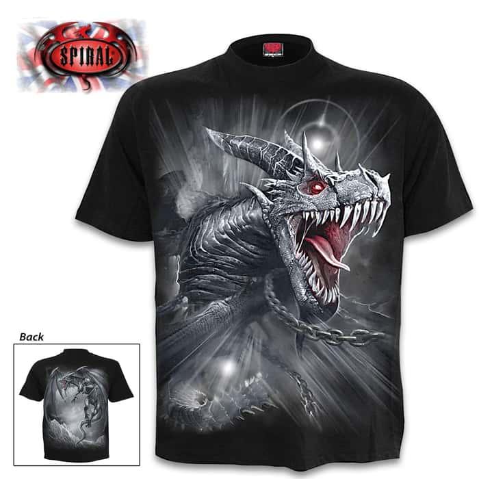 Dragon's Cry Black T-Shirt - Top Quality 100 Percent Cotton, Original Artwork, Azo-Free Reactive Dyes