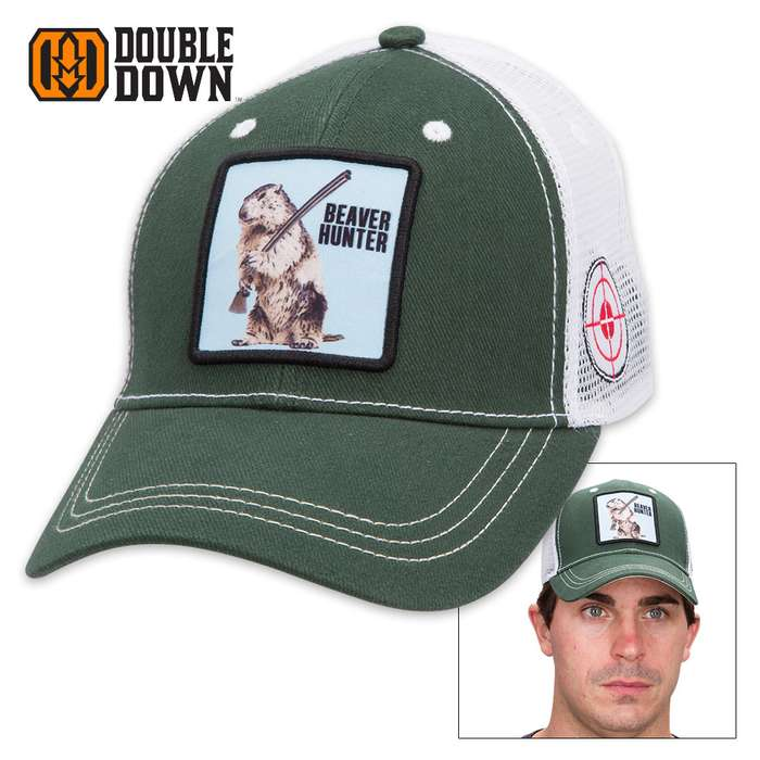 Double Down Beaver Hunter Trucker Cap - Dark Green Brushed Twill and Polyester Mesh