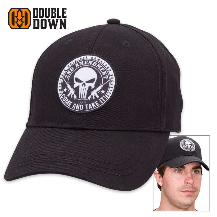 Double Down Second Amendment Punisher Cap - Black Cotton Twill