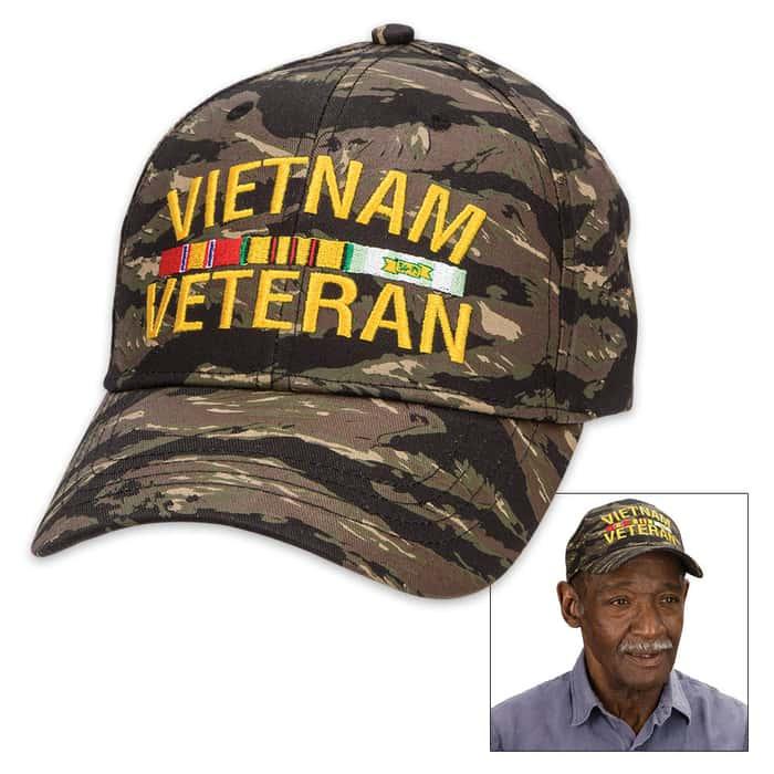 Double Down Jungle Camo Flag Veteran Cap - Hat