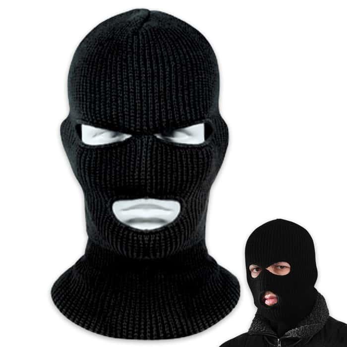 Black Three Hole Face Mask