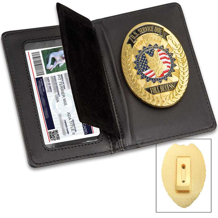 "Service Dog Badge With Leather Case - Metal Alloy Construction, Highly Detailed, ID Holder - Dimensions 5""x 3"""