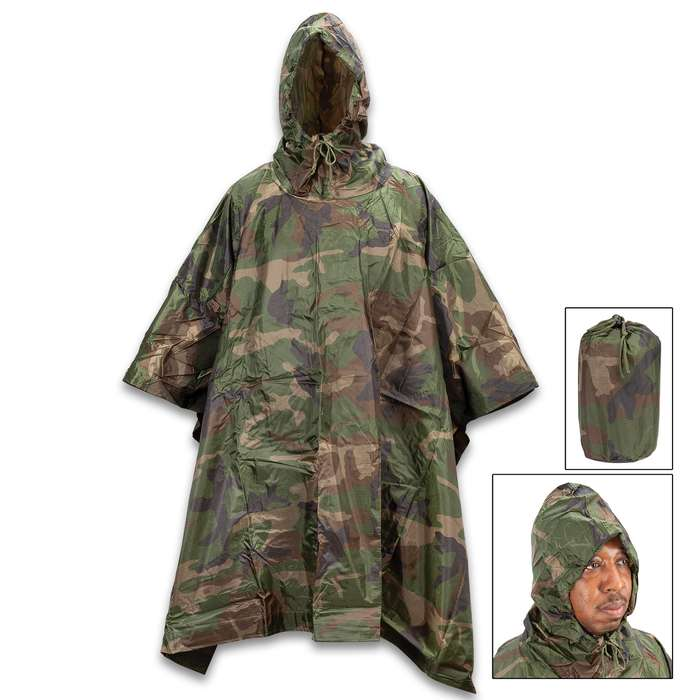 """Angolan Woodland Camo Poncho With Carry Bag - Like New, Rip-Stop Nylon Construction, Button Closure - Dimensions 57""""x 81"""""""