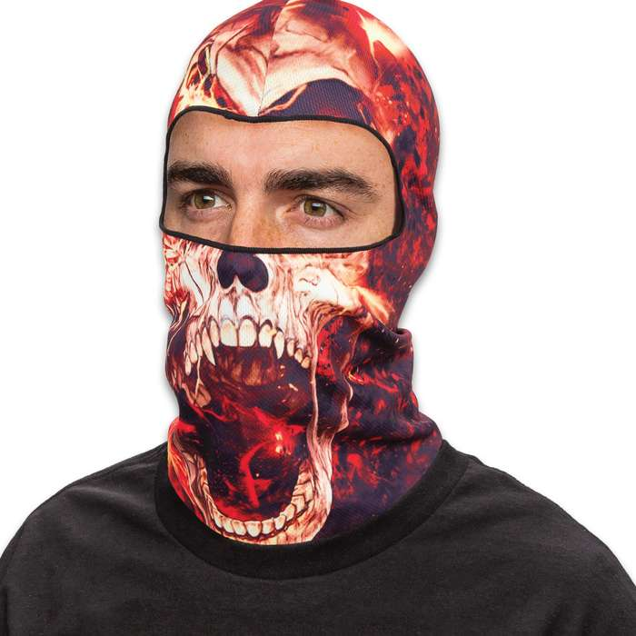 Flaming Skull Lightweight Balaclava Facemask - Soft And Stretchy Polyester Construction, Breathable, 3D Digital Printed - One Size Fits Most