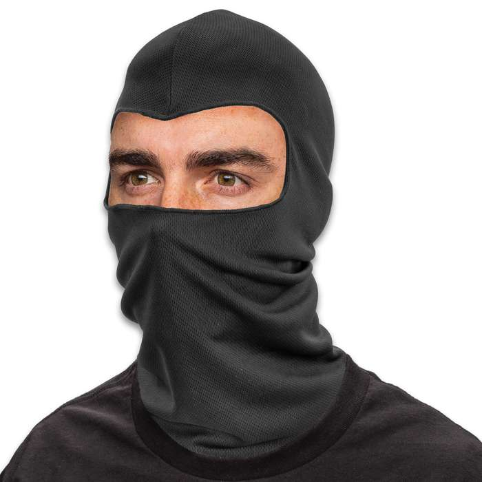 Solid Black Lightweight Balaclava Facemask - Soft And Stretchy Polyester Construction, Breathable, Quick Drying - One Size Fits Most