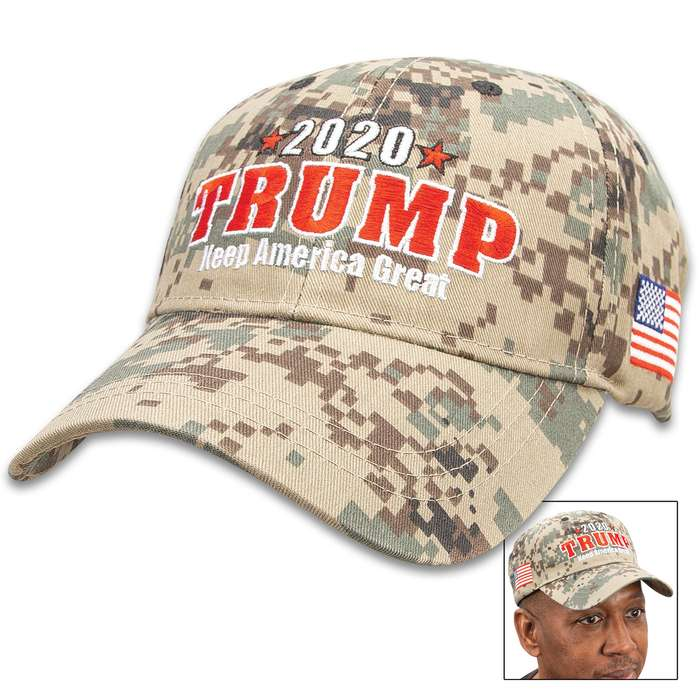 Trump 2020 Digital Camouflage Cap - Hat, 100 Percent Cotton Construction, Embroidered Message, Adjustable Velcro Strap