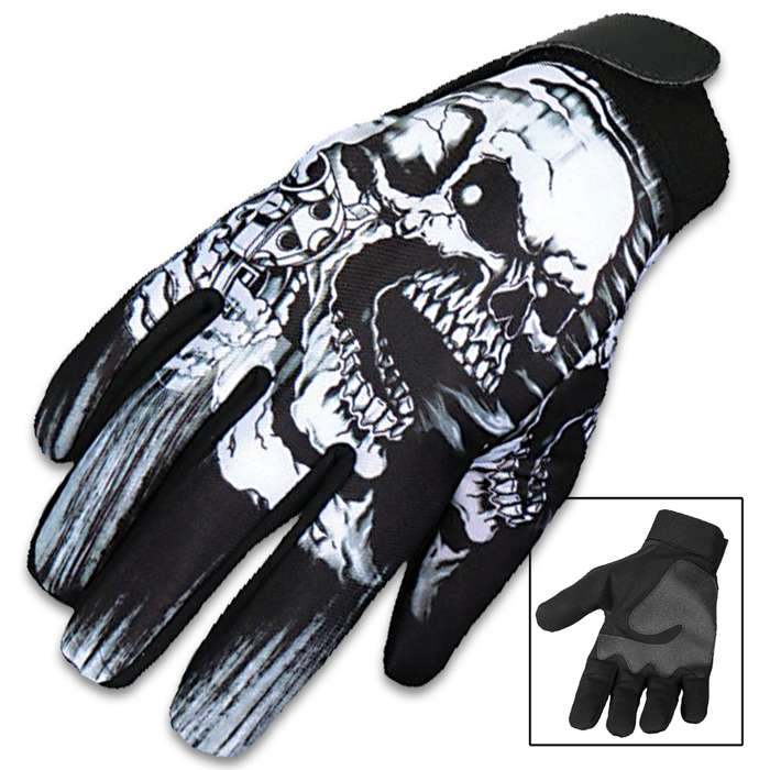 Our Assassin Skull and Pistol Mechanic's Gloves are a great alternative to traditional leather gloves and feature a vivid, original Hot Leathers design