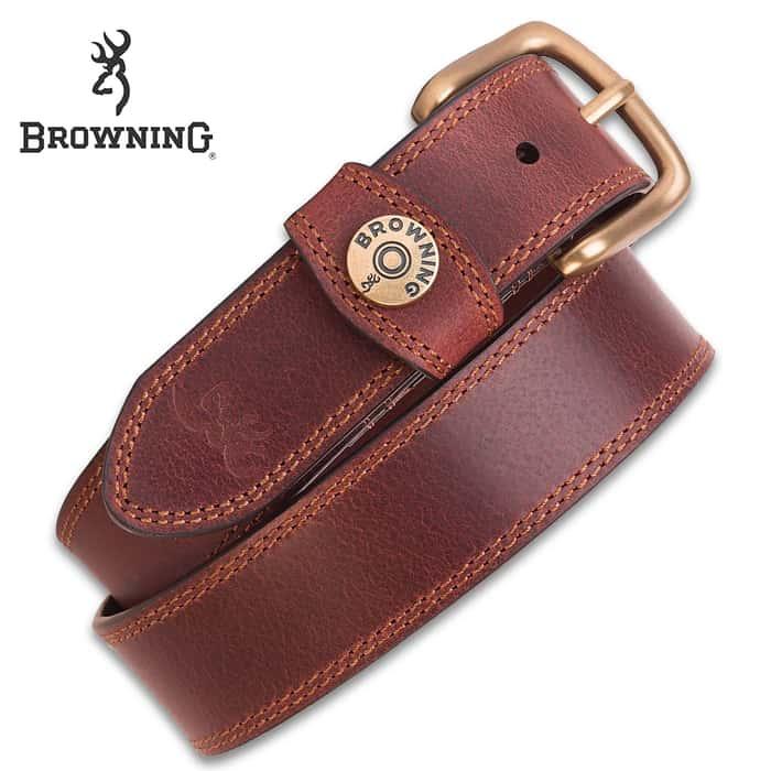 "Browning Men's Leather Slug Belt - Brown, Genuine Leather, Contrast Stitching, Shotshell Detail, Metal Alloy Buckle, 1 1/2"" Width"