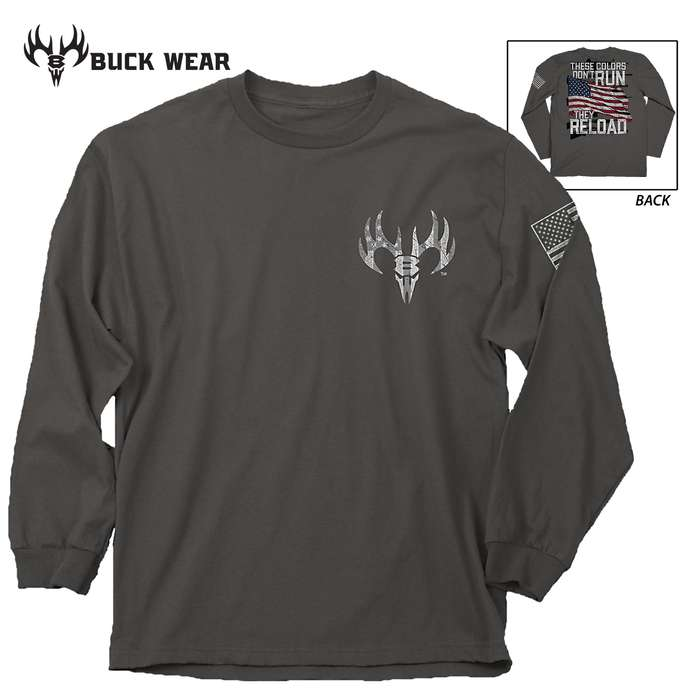 These Colors Reload Long Sleeve Grey T-Shirt - 100 Percent Ring Spun Cotton, Pre-Shrunk, Detailed Screen Printed Artwork