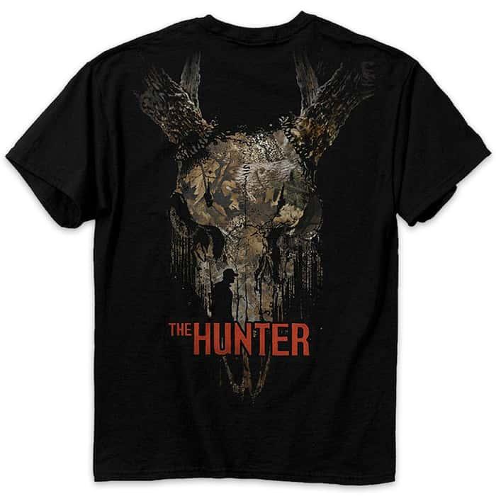 Buckwear The Hunter And Deer Skull Black T-Shirt