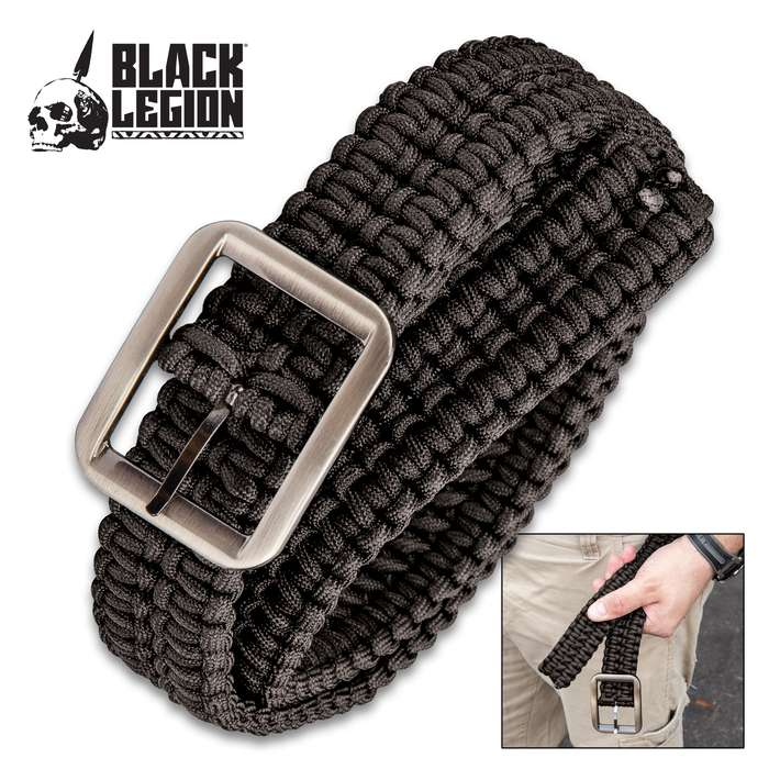 Black Legion Black Paracord Survival Belt - Made out of 330-LB Cord, Heavy-Duty Metal Buckle, Variety of Uses