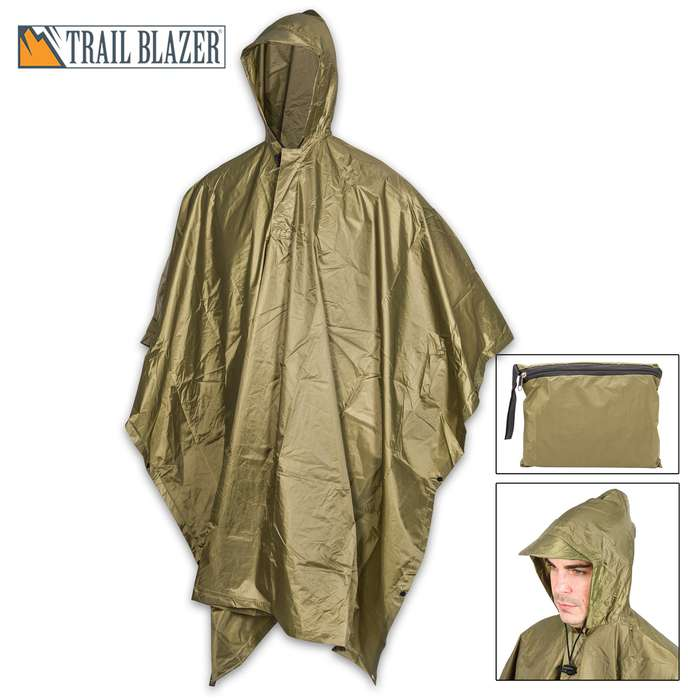 """Olive Green Poncho With Built-In Hood - Military Grade, Unisex - Waterproof, Grommeted Corners - 90 1/2""""x56 3/4"""""""