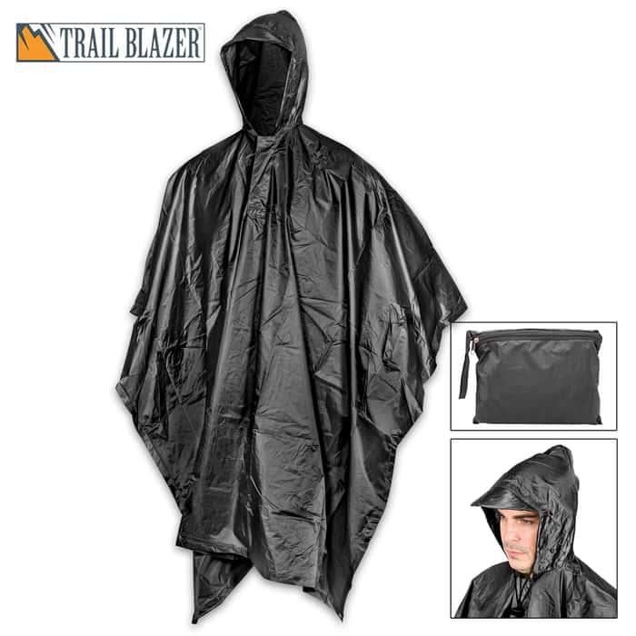 "Black Poncho With Built-In Hood - Military Grade, Unisex - Waterproof, Grommeted Corners - 90 1/2""x56 3/4"""