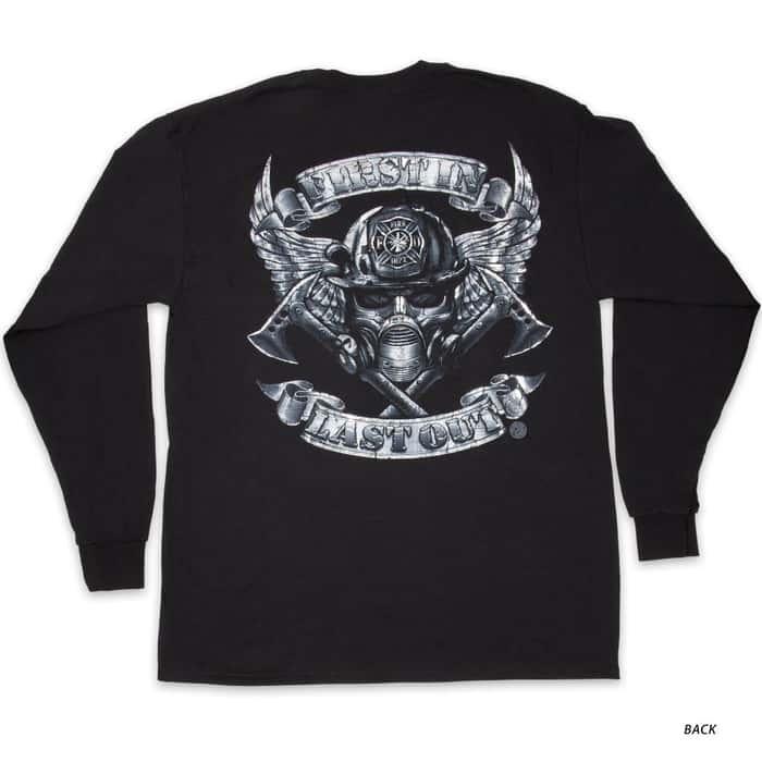 Steel Wings Firefighter Silver Foil T-Shirt - Long-Sleeve