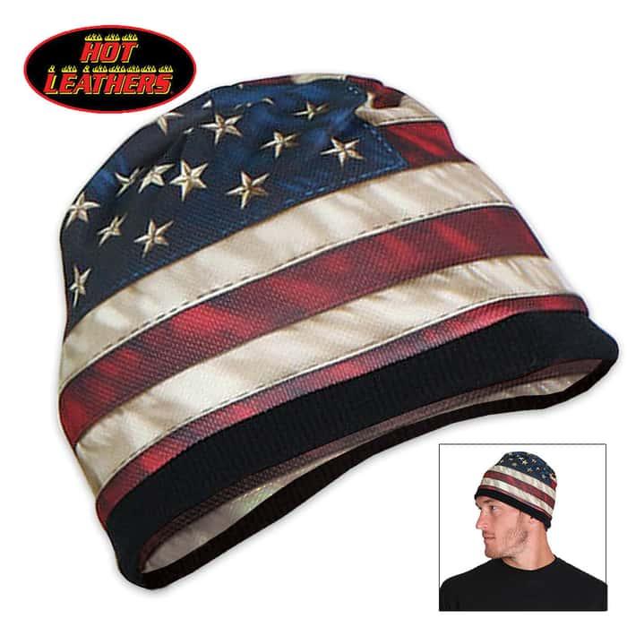 American Flag Beanie Black