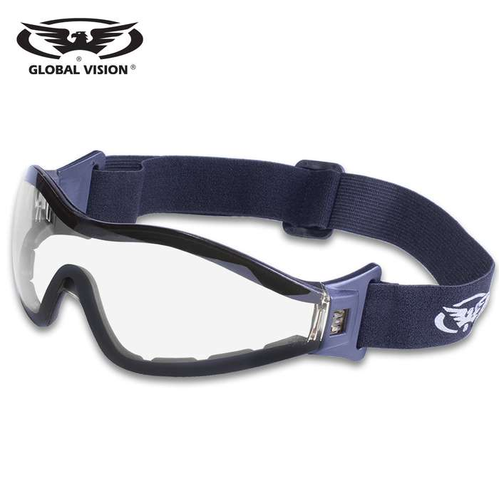 Our Global Vision Z-33 Clear Motorcycle Goggles feature vented EVA foam for comfort and an adjustable strap to assure a tight fit to your face, perfect for the open road