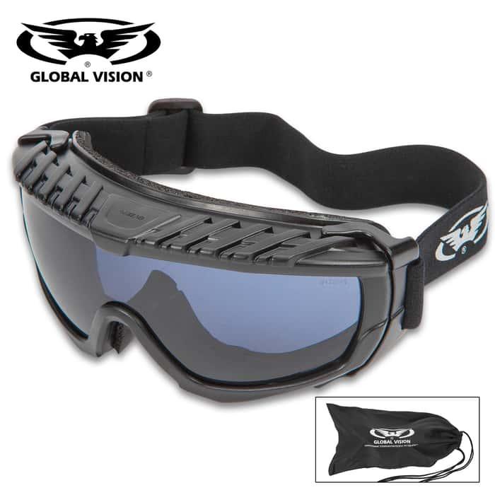 Global Vision Ballistech Anti-Fog Protective Glasses With Smoke Colored Lenses - Shatterproof, Scratch-Resistant, Matte Black Frames, UV Protection