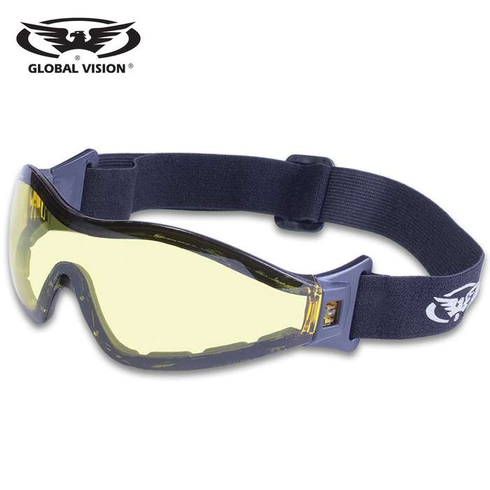 Our Global Vision Z-33 Yellow-Tinted Motorcycle Goggles have top and bottom venting to help prevent fogging and the 2mm thick lenses feature a double-sided anti-fog coating