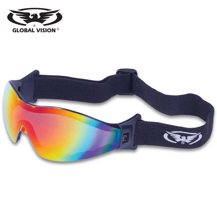 Our Global Vision Z-33 Red G-Tech Motorcycle Goggles offer a UV400 filter for maximum UV protection and shatterproof polycarbonate, one-piece design red G-Tech lenses