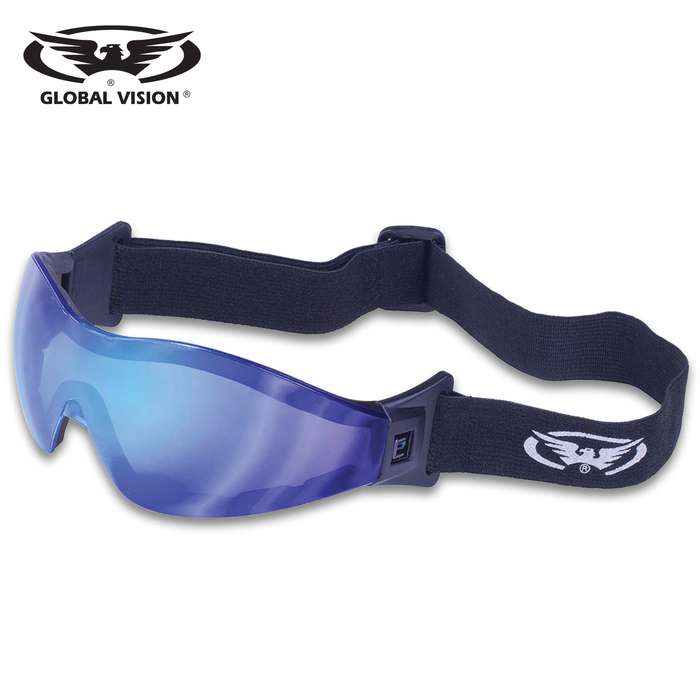 Our Global Vision Z-33 Blue G-Tech Motorcycle Goggles have one-piece design blue G-Tech lenses with a scratch resistant coating