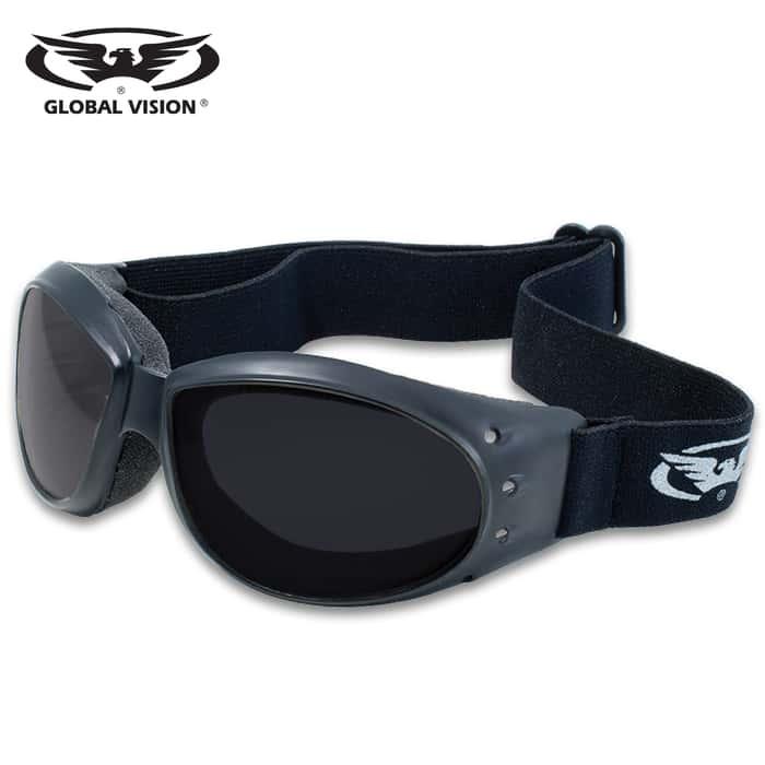 Our Global Vision Eliminator Super Dark Motorcycle Goggles have shatterproof polycarbonate, super dark lenses with a scratch resistant coating