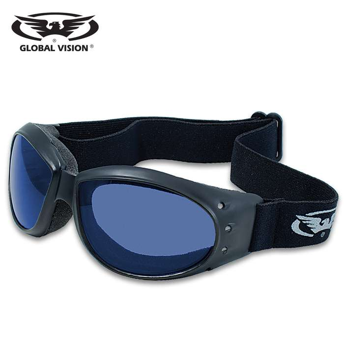 Our Global Vision Eliminator Blue Motorcycle Goggles feature soft foam for comfort and an adjustable strap to assure a tight fit to your face, perfect for the open road