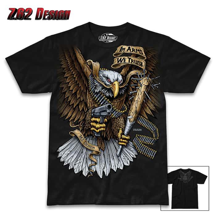 In Arms We Trust Black T-Shirt - Pre-Shrunk Cotton, Athletic Fit, Screen-Printed Original Artwork, Tagless
