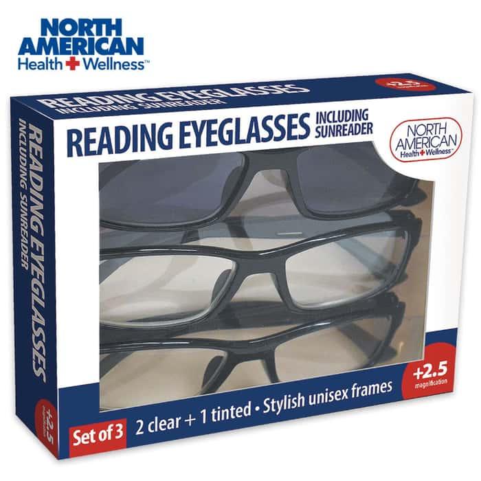 North American Reader Eyeglasses 3 Pair