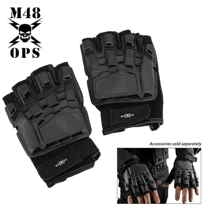 M48 OPS Military Law Enforcement Tactical Self Defense Gloves - Black - Large
