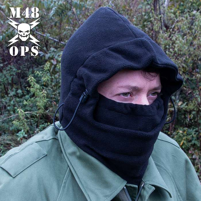 M48 Double-Insulated Black Balaclava Facemask - Polar Fleece Construction, Adjustable Draw Cord, Three-In-One