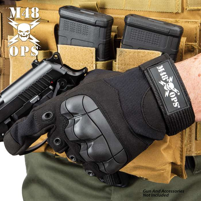M48 Tactical Full Finger Gloves - Microfiber And Breathable Nylon Construction, TPR Knuckle Guards, Adjustable Wrist Strap