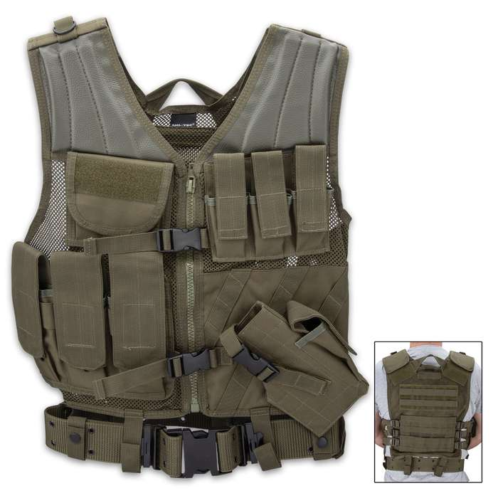 The adjustable combat vest is specifically made to carry regular rifle ammunition, a pistol and extra pistol ammunition