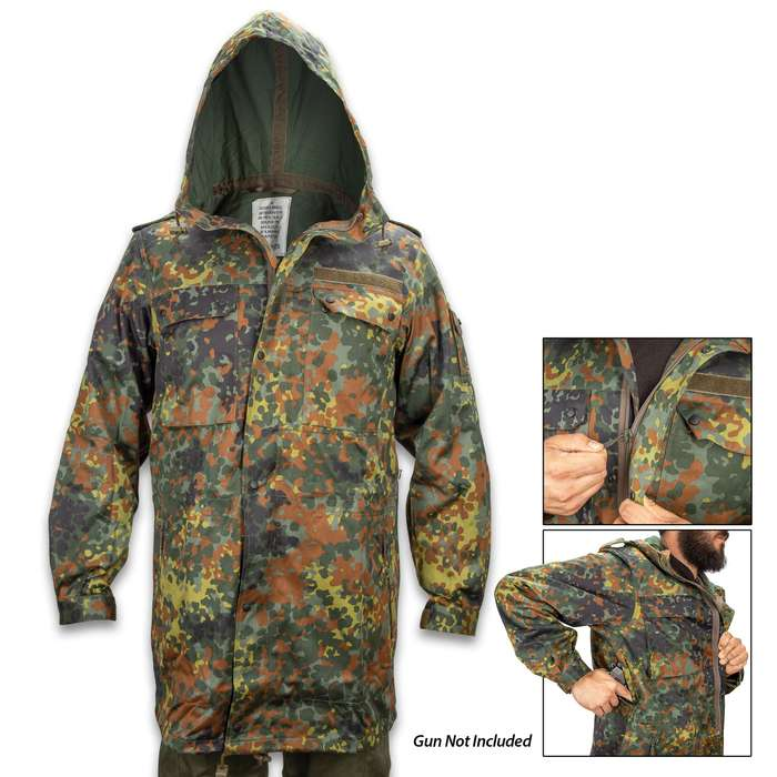 German Military Flectarn Camo Parka With Hood - New, Cotton And Polyester Construction, Spacious Pockets, Sturdy Zippers