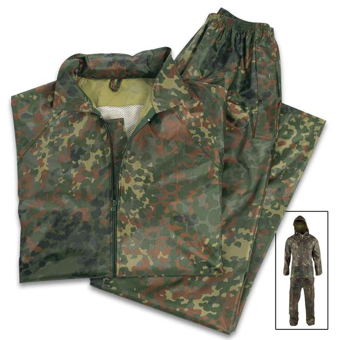 Ideal for all outdoor pursuits like hiking and hunting, the Mil-Tec Flecktarn Camo Wet Weather Suit is lightweight and comfortable
