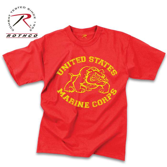 Officially Licensed US Marines Red Bulldog T-Shirt - Washed Polyester Cotton Blend, Vintage Look, Tagless